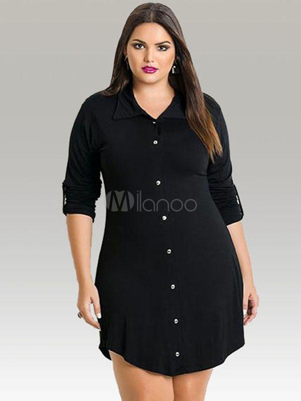 22f131d1cd Manga larga de la mujer con botones Plus tamaño Vestido camisero con  cinturón-No.