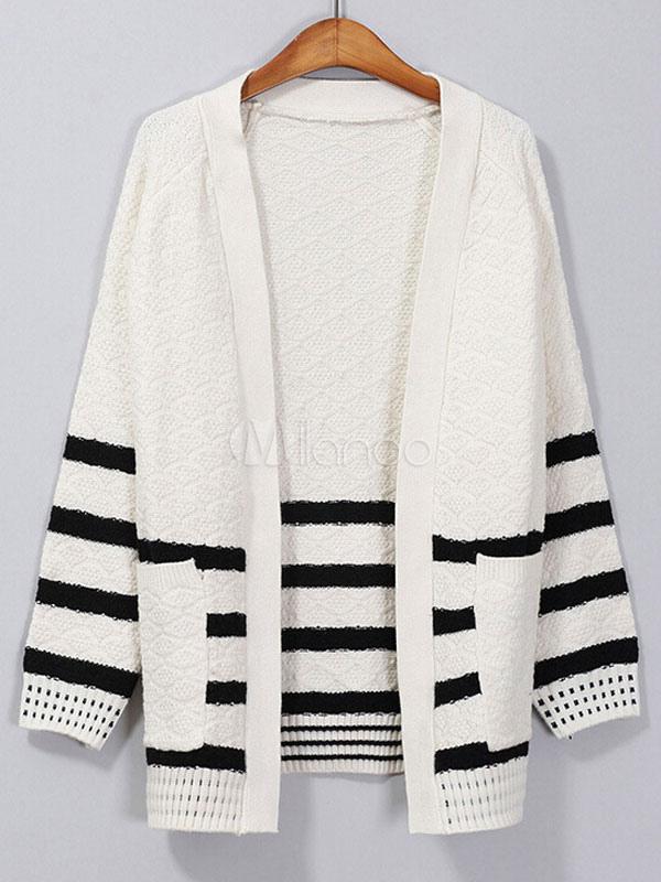 quality design 86aee 8029e Weiße Damen Pullover Streifen Baumwolle Langarm offene vordere Strickjacke  mit Taschen