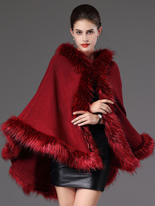Women Poncho Wrap Faux Fur Collar Hooded Long Sleeve Cotton Oversized Cape Coat