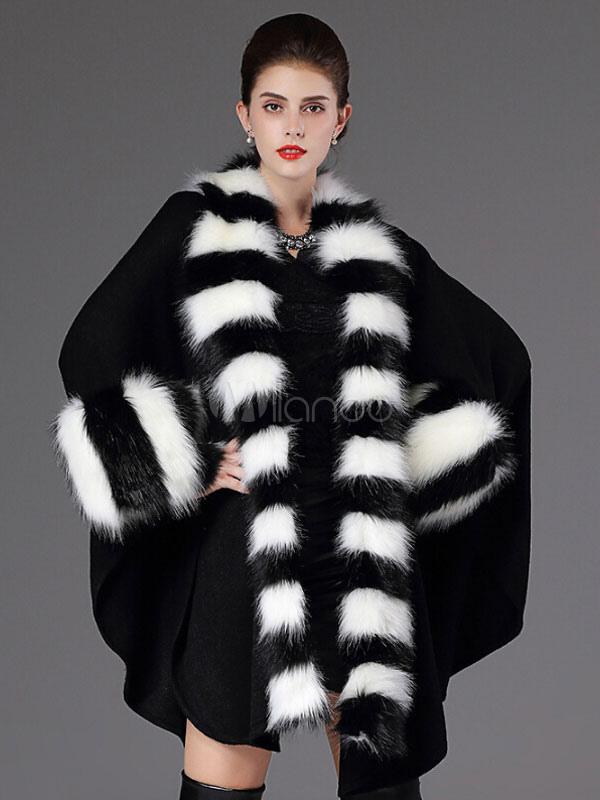 Faux Fur Coat Women Black Poncho Long Sleeve Batwing Oversized Cape Coat