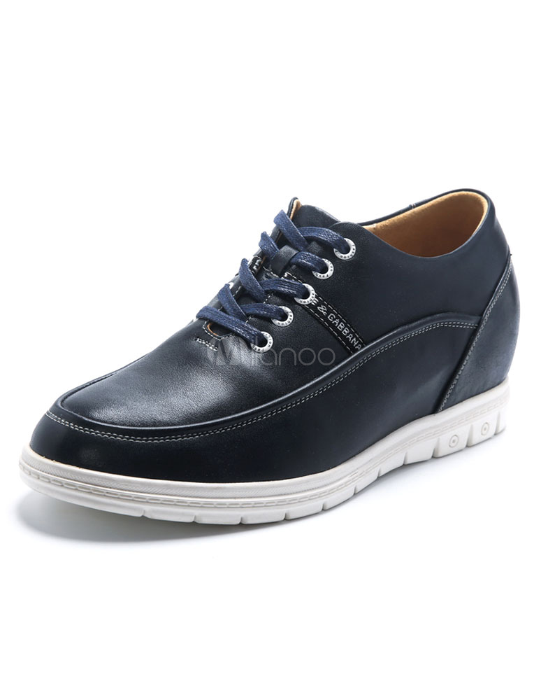 Buy Hidden Heel Sneakers Men's Blue Round Toe Lace-up Leather Casual Shoes for $77.99 in Milanoo store