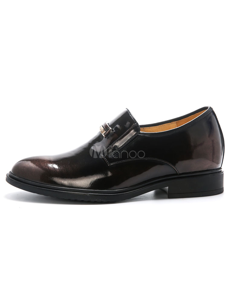 Oculto talón zapatos de los hombres de negro dedo del pie redondo cuero Slip-on Vestido Rtm4qdEslL