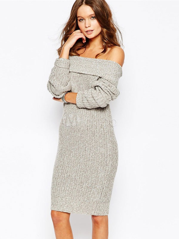 Women's Gray Off-the-shoulder Slim Knit Sweater Dress Cheap clothes, free shipping worldwide