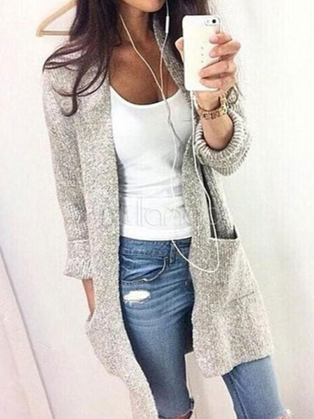 Gray Cardigan Sweaters Women's Long Sleeve Pockets Casual Knit Sweaters