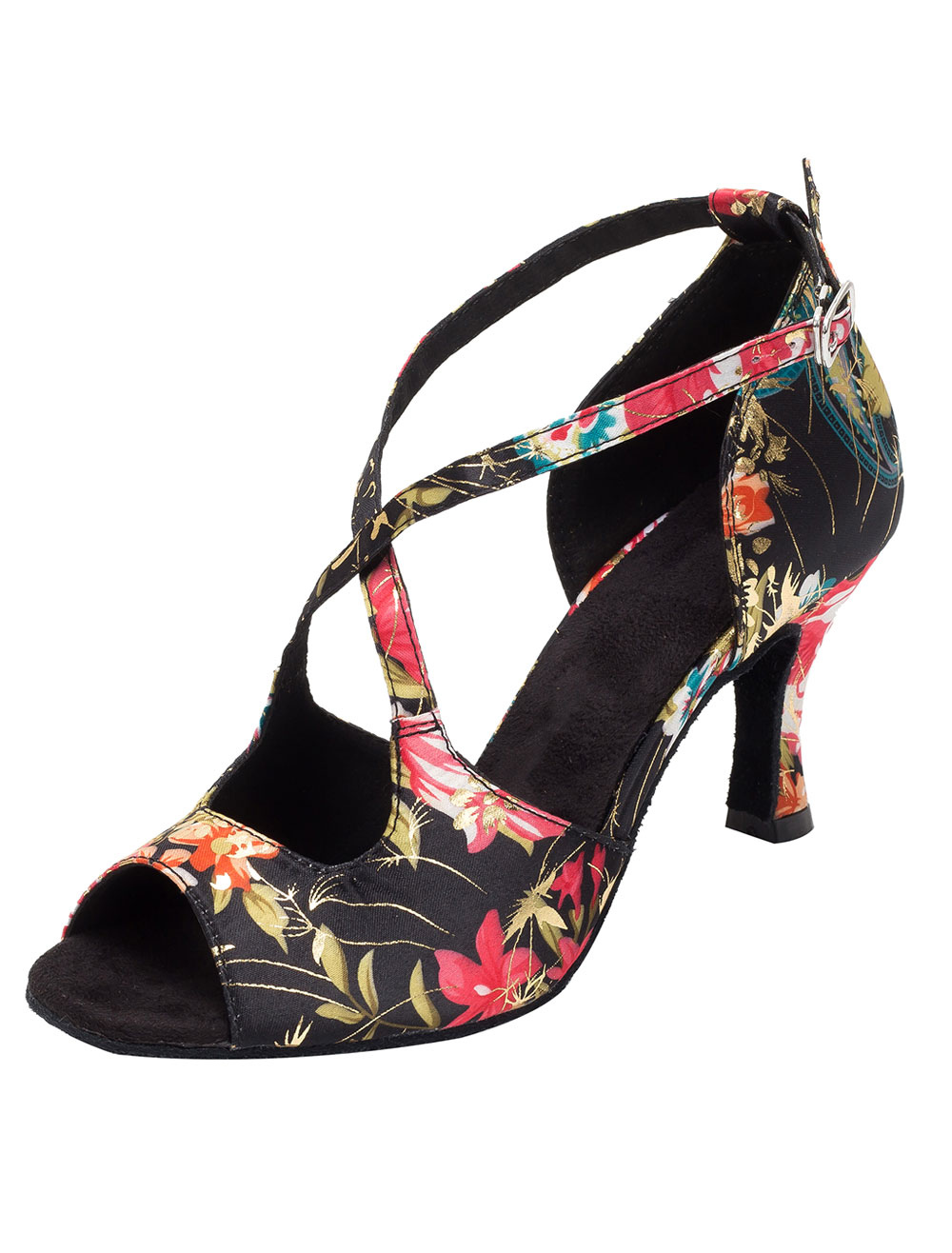 Vintage Dance Shoes Floral Printed Peep Flared Heel Strap Cross Front Ballroom Shoes For Women
