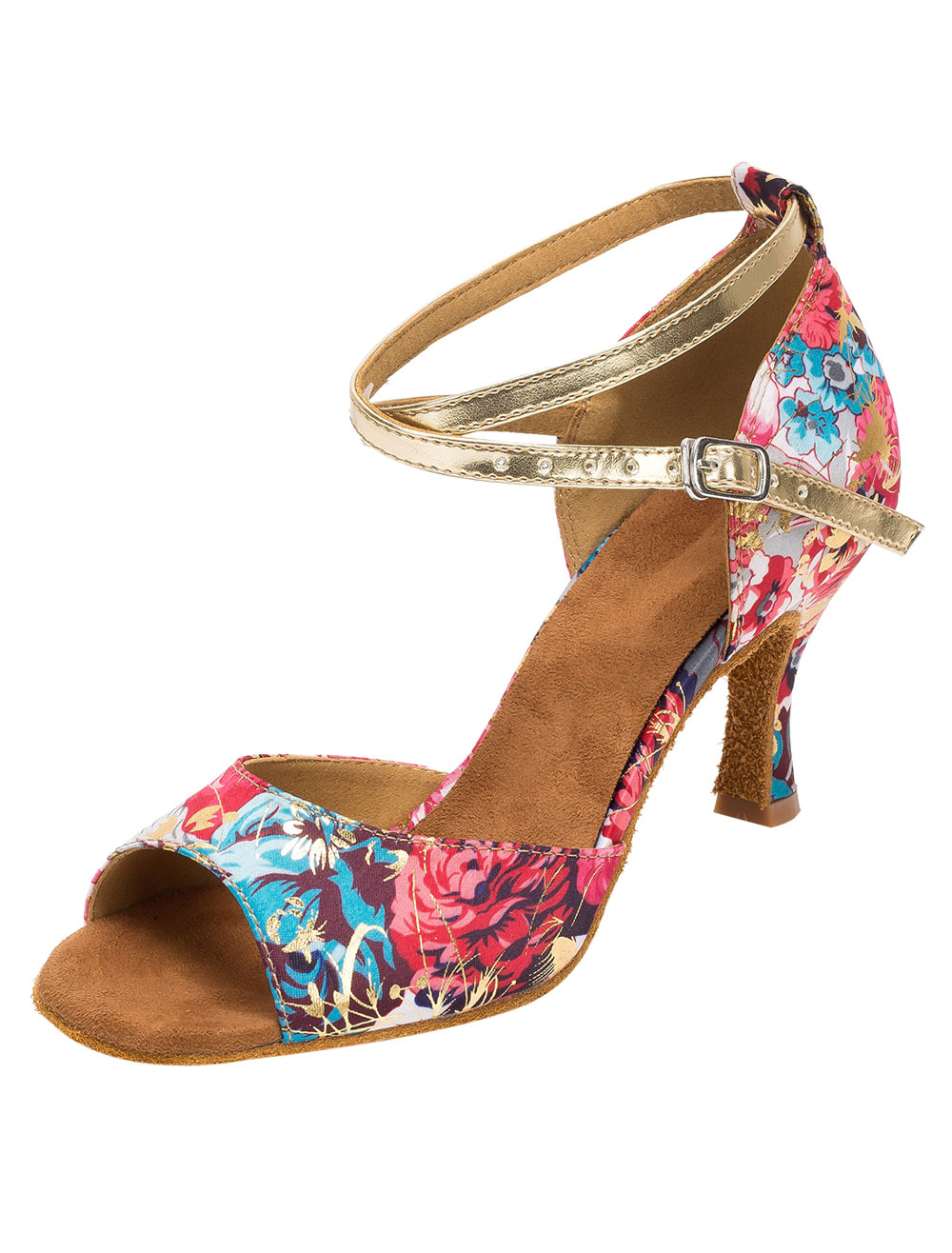 Ballroom Dance Shoes Floral Print Women's Vintage Customized High Heel Dance Shoes