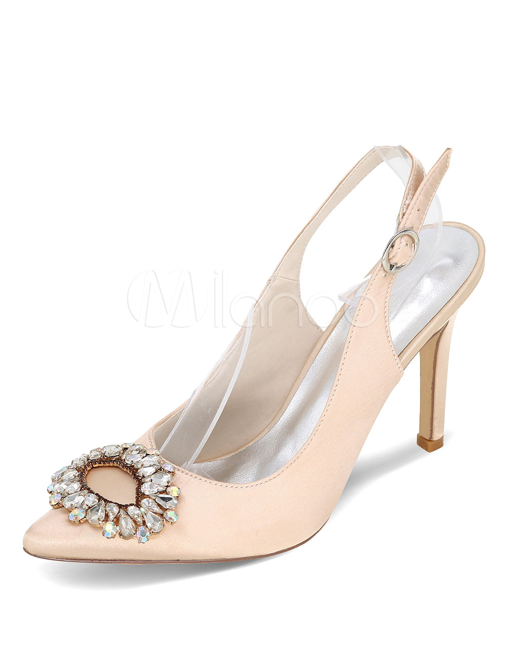 Buy White Wedding Shoes Pointed High Heel Rhinestones Satin Bridal Shoes for $47.49 in Milanoo store
