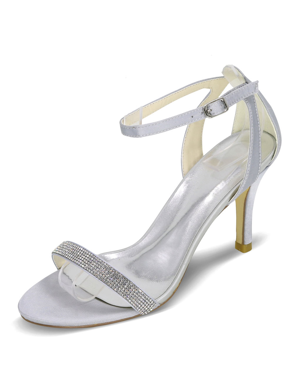 Silver Wedding Sandals High Heel Rhinestones Satin Bridal Shoes