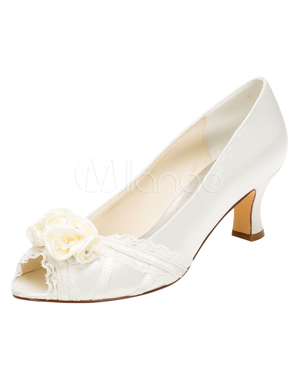 Ivory Wedding Shoes Peep High Heel Lace Satin Flower Slip-on Bridal Shoes