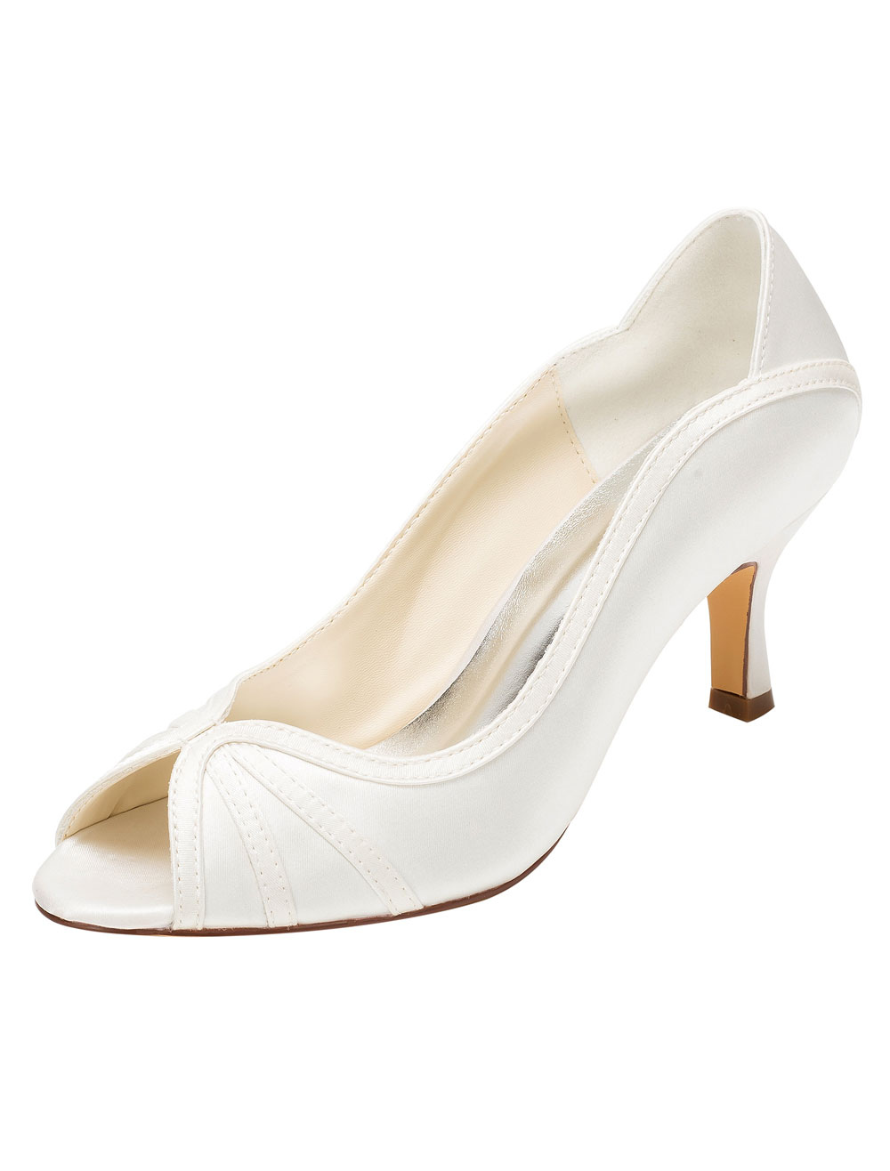 Ivory Wedding Shoes Peep High Heel Pumps Slip-on Bridal Shoes