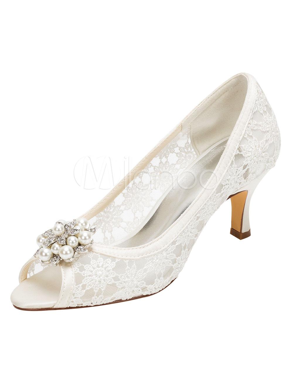 Lace Wedding Shoes High Heel Ivory Peep Pumps Pearl Rhinestone Slip-on Bridal Shoes