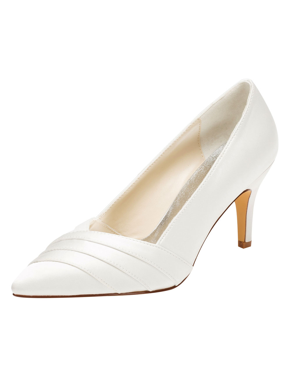 Buy Ivory Wedding Shoes Pointed High Heel Pumps Pleated Slip-on Bridal Shoes for $49.39 in Milanoo store