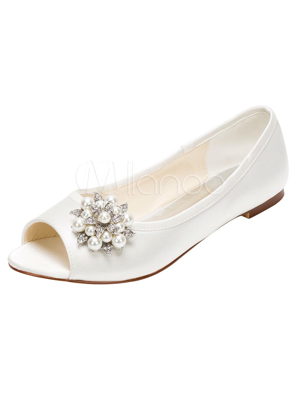 Peep Wedding Shoes Ivory Flat Pumps Pearl Rhinestone Slip-on Bridal Shoes