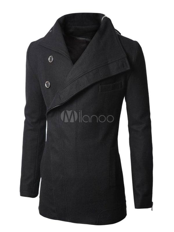 71dbf45478efe Negro cremallera botón de gabardina hombre abrigos y chaquetas de manga  larga-No.1 ...