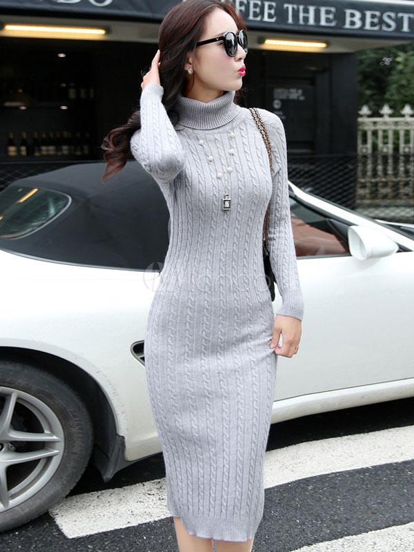 a basso prezzo 53e0c 1e573 Tartaruga collo a maglia maglione vestito manica lunga Slim Fit metà lungo  vestito di maglia maglione posteriore Split