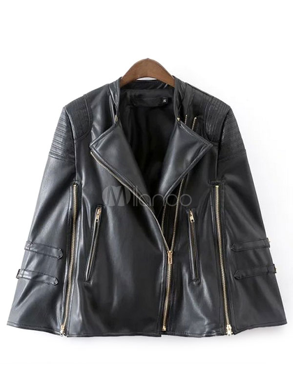 pelle zip Moto giacca couverture giacca con Oversize in collare PU Ww8q4pOpUf