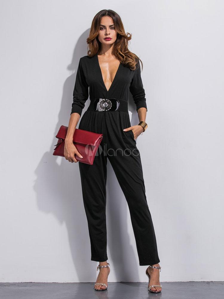 93f73065c Macacão preto feminino com manga longa com decote em v - Milanoo.com