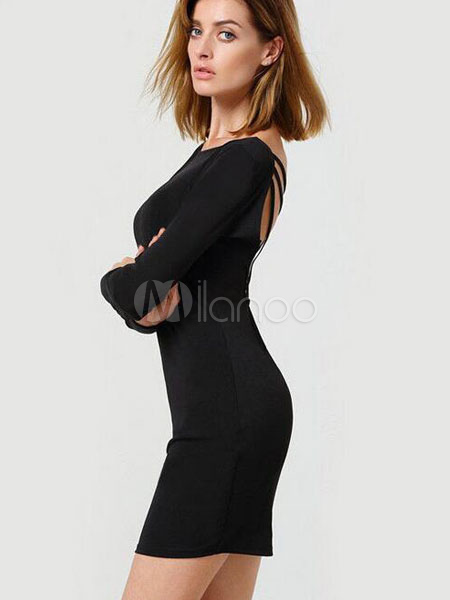 ... Robe fourreau T-shirt noir robe manches longues dos nu croisé dos  féminin-No ... 9bb7444056c