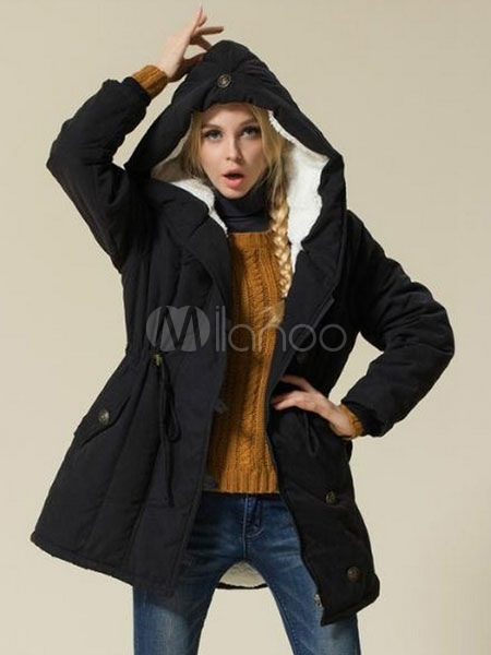 Black Winter Coat Women's Drawstring Hooded Cotton Parkas
