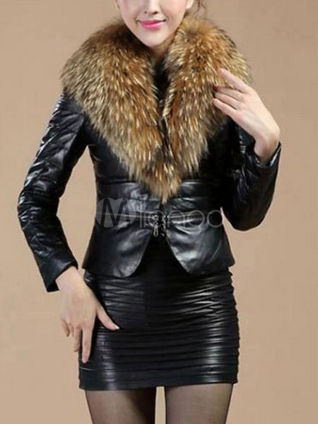 Buy Black Winter Jacket Women's Faux Fur Collar Zipper PU Leather Jacket for $86.69 in Milanoo store