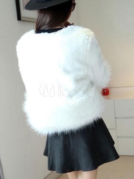 outlet store 15648 8eeee Inverno cappotto corto pelliccia cappotto bianco manica lunga donna