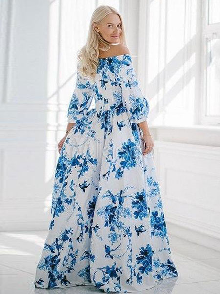 4c8ed170fdbe74 ... Blue Maxi Dress Floral Print Vintage Off-the-Shoulder Puff Sleeve  Women s Long Dress