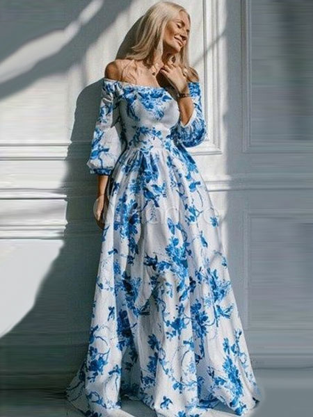aa1d4a20a31a Blue Maxi Dress Floral Print Vintage Off-the-Shoulder Puff Sleeve Women s  Long Dress ...