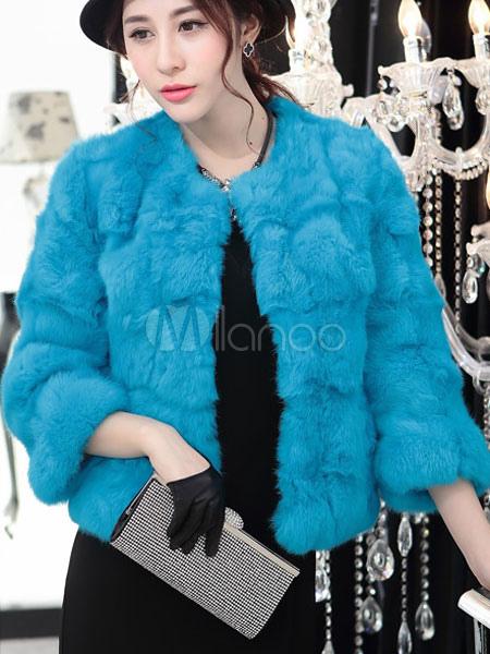 online store bdb3c 1036b Giacca di pelliccia blu manica lunga invernale cappotto corto donna