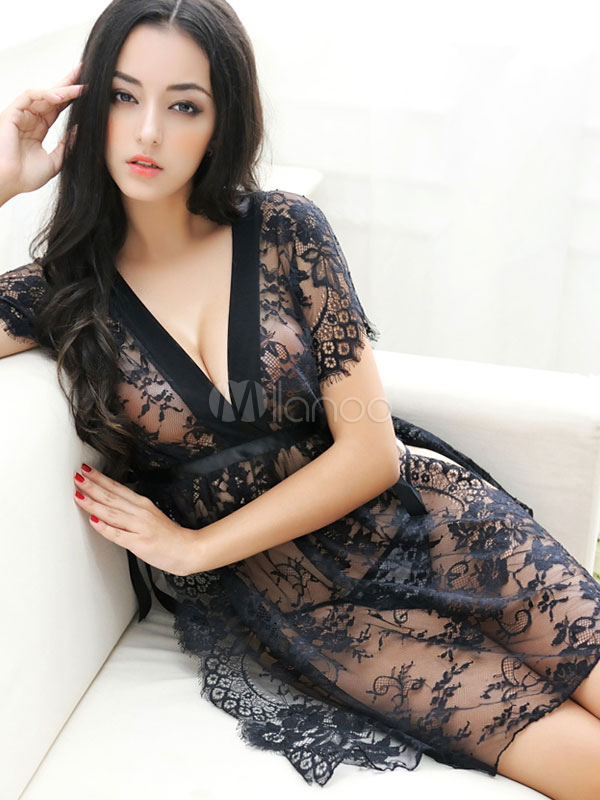 Black Sexy Gown Lace Jacquard Sheer V Neck Short Sleeve Lingerie With Thong Cheap clothes, free shipping worldwide