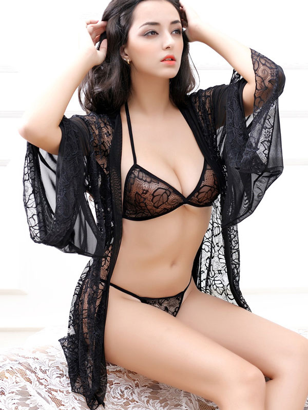 38bb90a8a29 Lace Black Robe Sexy Semi-Sheer Adjustable Straps Bra Lingerie In 3 Piece  Set- ...