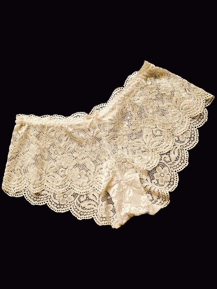 a4d4a848b ... Lingerie Laço sensual Calcinha Ruffle cintura baixa semi Sheer -No.6