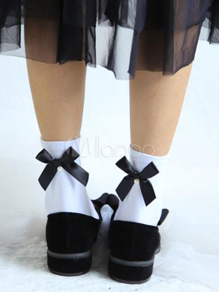 Buy Sweet Lolita Socks Cute Ribbon Bow Cotton Lolita Ankle Socks With Pearl for $6.29 in Milanoo store