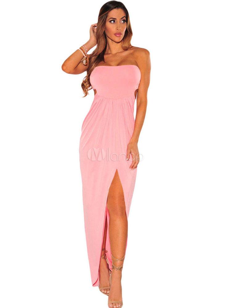 Club Maxi vestido Strapless plisado corte vestido largo Sexy de ...