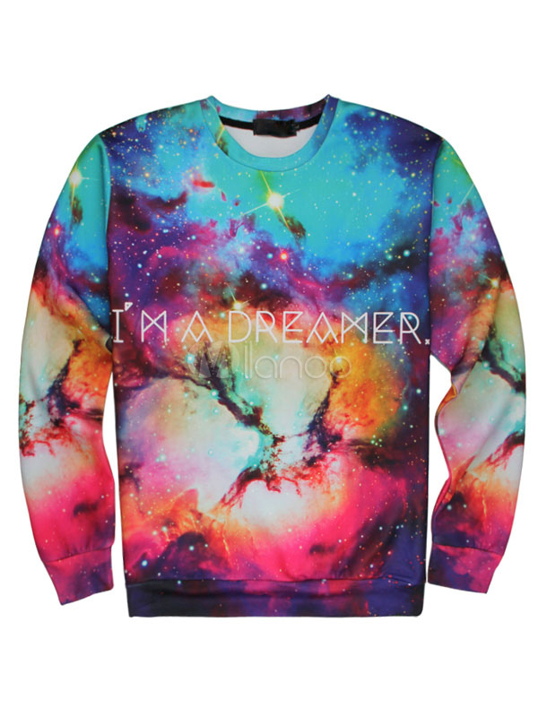Men's Printed Sweatshirt Long Sleeve Multi-color Casual Tops