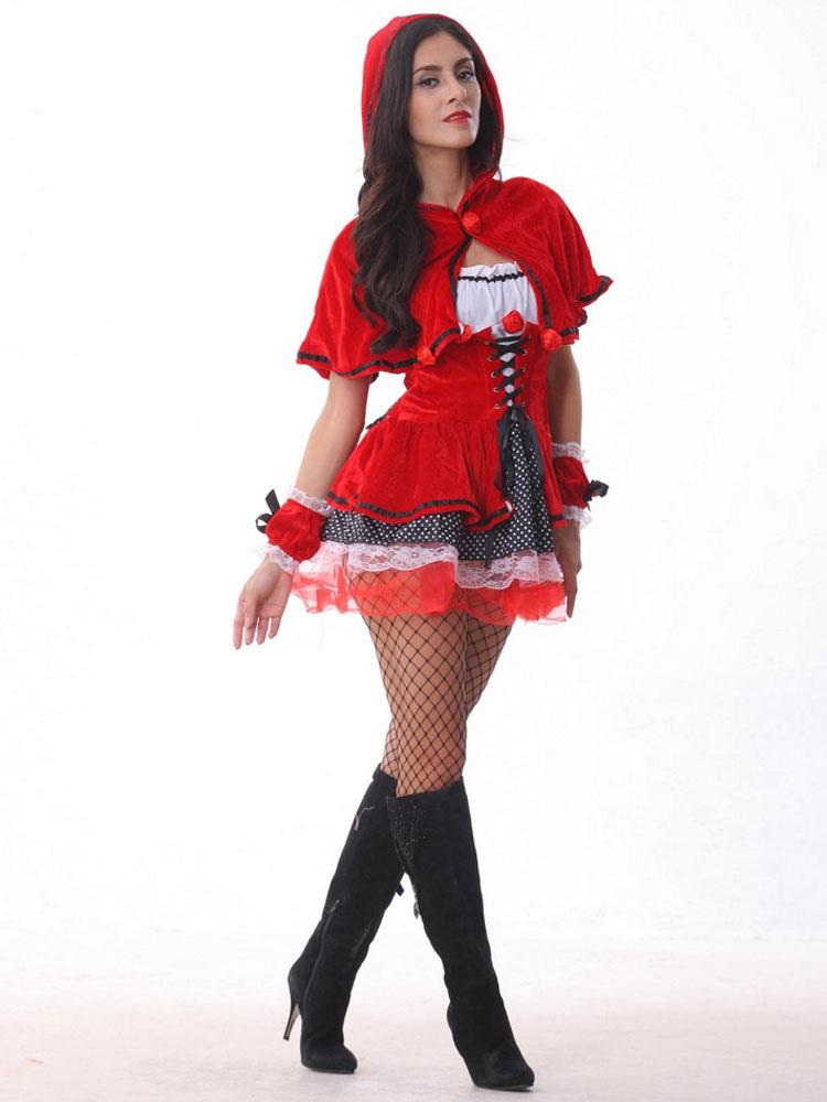 9cd0e9568 ... Traje halloween traje poco Caperucita Roja campana adultos mujeres Sexy  de Cosplay vestido rojo con capucha ...