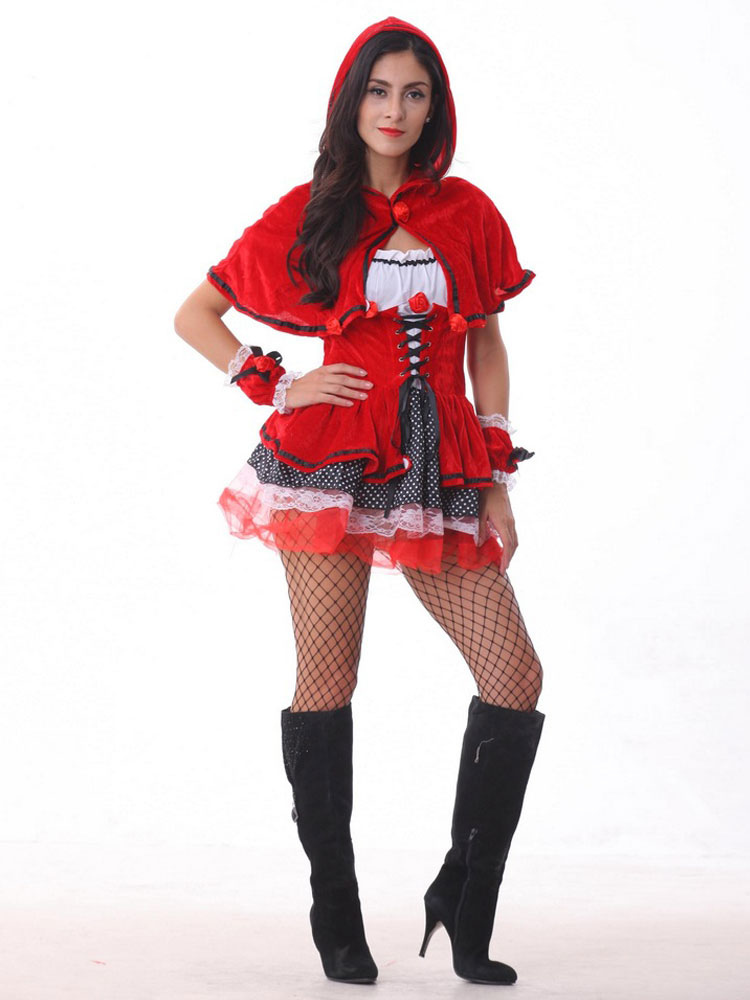 Buy Halloween Costume Sexy Little Red Riding Hood Adults Women's Outfit Cosplay Red Dress With Hood Halloween for $24.99 in Milanoo store