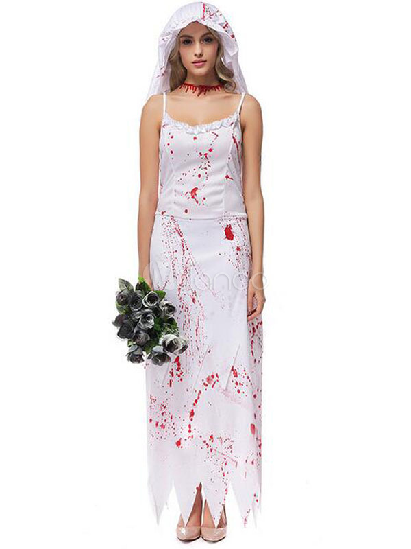 Blanche Avec Féminin Halloween Bandeau Corpse Costumes Vampire Robe Bride fgYyb67v