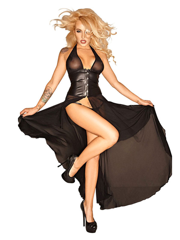 Black Sexy Costumes Women's Chiffon Split Sheer Halter Low Back Sexy Dress Halloween