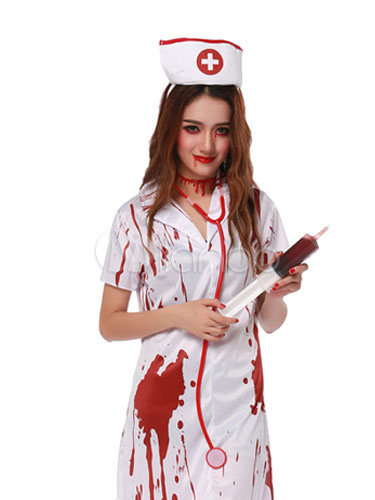 Scary Nurse Costume Outfit Bloody Horror Halloween Party Nurse Dress