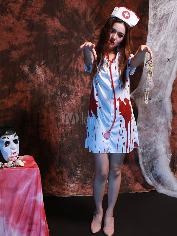 Buy Scary Nurse Costume Outfit Bloody Horror Halloween Party Nurse Dress Halloween for $23.74 in Milanoo store