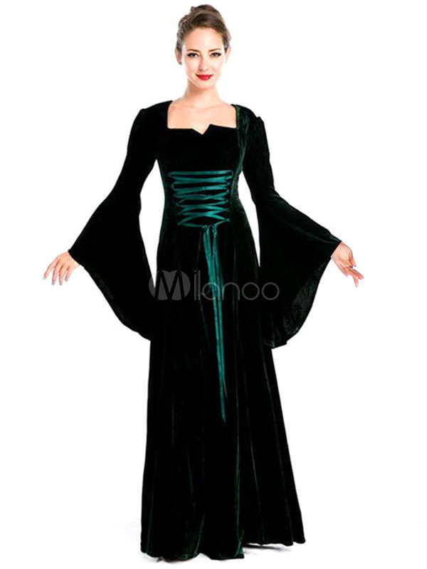 Buy Women's Retro Costume Black Bell Long Sleeve Lace Up Maxi Vintage Dress Halloween for $71.99 in Milanoo store