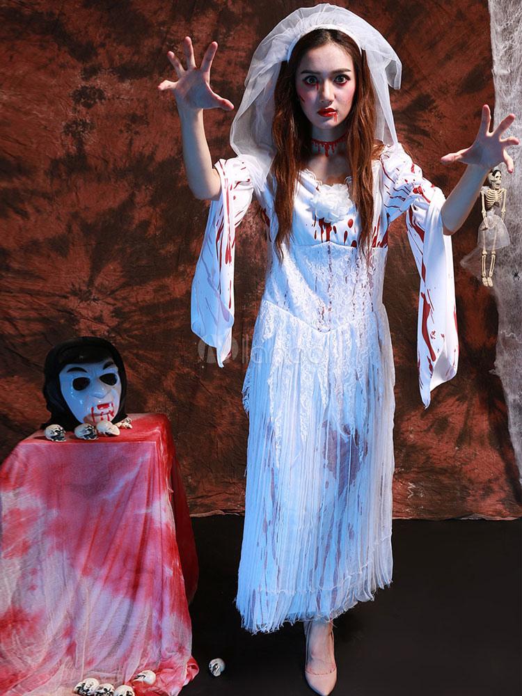 Robe longue blanche halloween