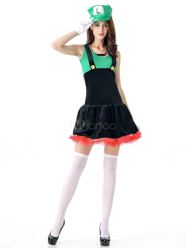 Halloweenskostüm Super Mario Damen Outfit Cosplay Zweifarbiges Kleid