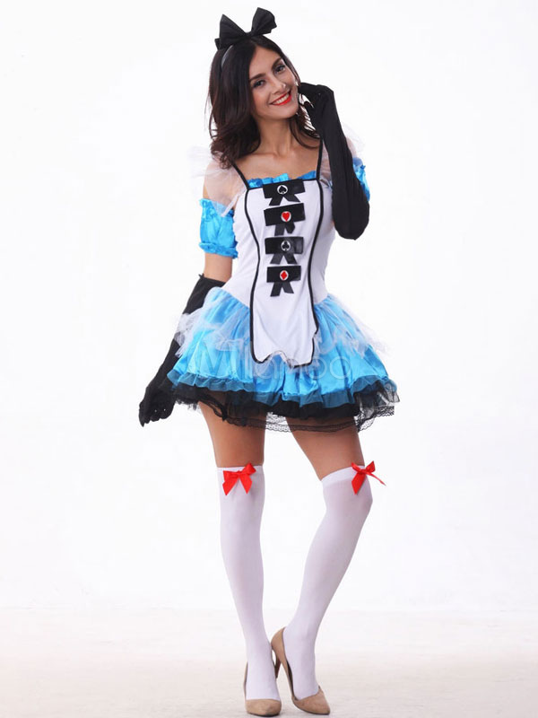 Halloween Costumes Alice In The Wonderland Women's Dress Cosplay With Gloves Halloween
