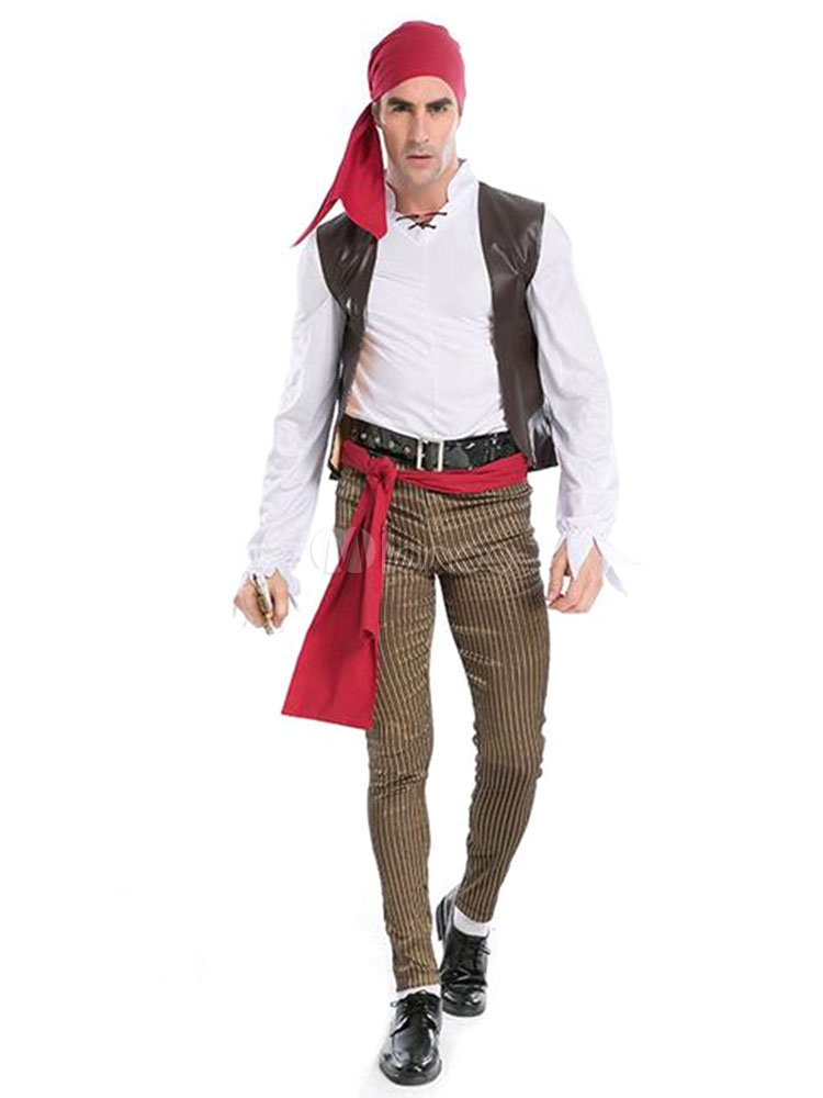Buy Halloween Costumes Pirates Of The Carribbean Men's Outfit Jake Captain Cosplay With Pirates Headband Halloween for $39.99 in Milanoo store