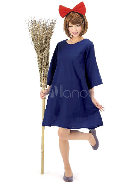 Halloween Costumes Kiki's Delivery Service Women's Blue Dress Cosplay With Headgear Halloween