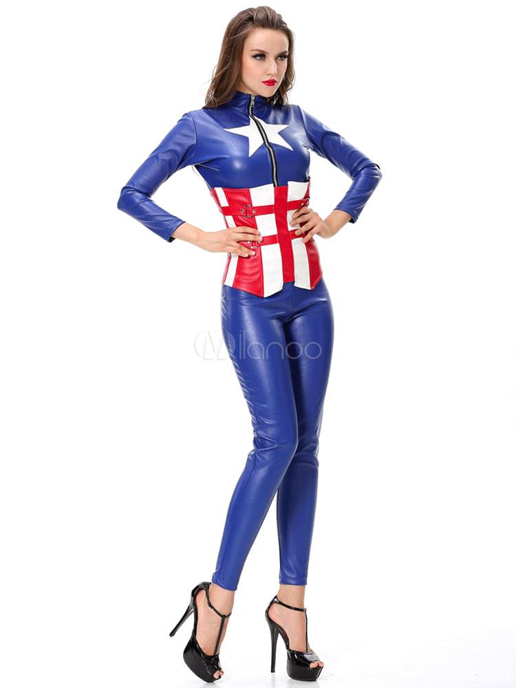 Traje Color Con Mujer Cosplay Conjunto Capitán Fajín De Halloween Bloque América Azul wNm0nvO8