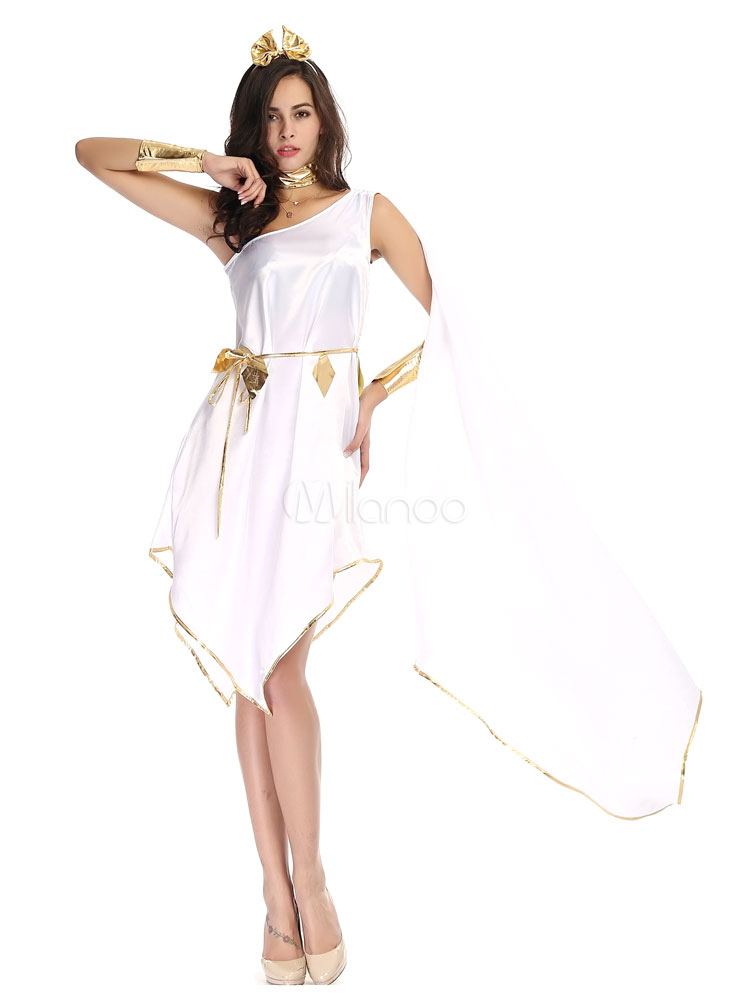 Easy Halloween Costumes Greek Goddess Athena Cosplay Costume White ...