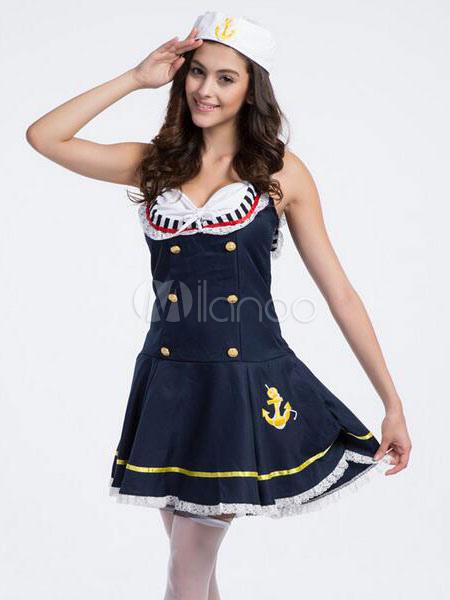 a157649ff30 Color azul bloque raya botón Vestido de marinero trajes mujer con sombrero  Halloween-No.