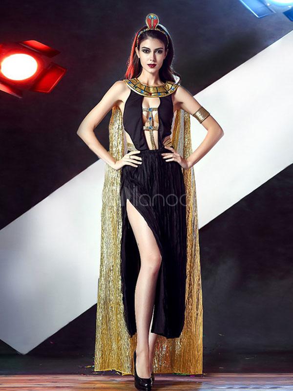 Sexy Karnevalkostüme Griechisch Queen Cosplay Frauen schwarz Split ...